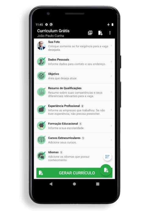 Curriculum grátis - conheça esse aplicativo gratuito para fazer currículo no celular